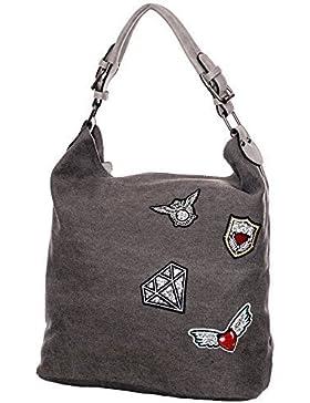 Damen canvas schultertasche canvas umhängetasche Handtasche Canvas Beuteltasche Shopper mit patches Metalic Silber...