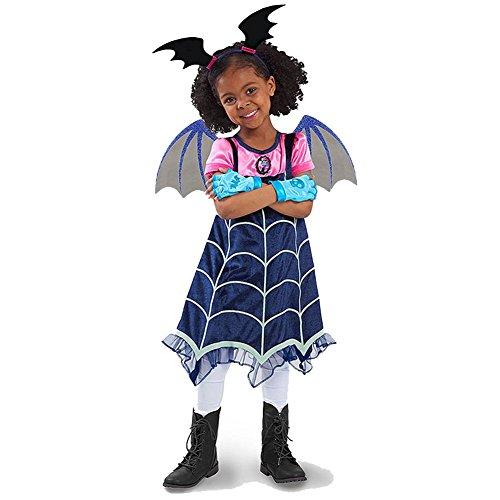 Hallowmax Mädchen Kleid Vampirina Cosplay Kostum Halloween Cartoon Karneval Stirnband