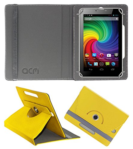 Acm Rotating 360° Leather Flip Case for Micromax Funbook P650e Cdma Cover Stand Yellow  available at amazon for Rs.149