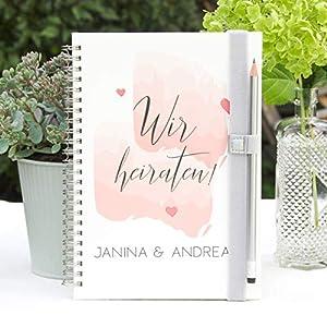 Hochzeitsplaner Wedding planer - Notizbuch - Deutsch - PERSONALISIERT Water Color Love
