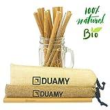 Pailles Bambou. Pailles en bambou reutilisable, biodégradables et écologiques. 12 Pailles 100% Naturelles sans BPA + 1 brosse de nettoyage + 2 sacs en jute naturelle. Paille Ecologique réutilisable.