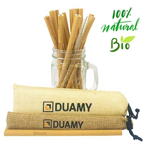 Cannucce Di Bamb.Cannucce In Bambu Riutilizzabili 12 Cannuccia Di Bambu Ecologiche Una Spazzola Di Pulizia E Due Sacchetti Di Tela Di Iuta Naturale Cannucce
