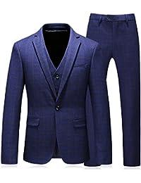 Herzii Mens Classic Suit Plaid 3-Piece Suit Blazer and Trouser S-4XL-