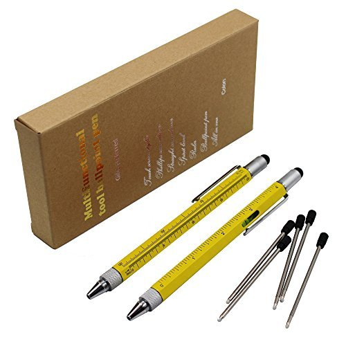 2PCS PACK 6 in 1 Multifunktion swerkzeugstift - Enthält 1 Kugelschreiber, Universalstylus Spitze, Lineal, 2 Arten Schraubenzieher, Gradienter - Multifunktions Schreibgeräte (Hellgelb)
