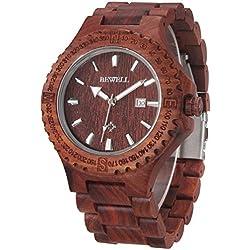 Alienwork Quartz Watch natural solid wood Wristwatch Handmade Red sandalwood red red UM023A-01