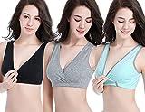 KOOYOL Damen Bio-Baumwolle Schlaf Schwangerschafst Still BHS (M/L, Green+Black+Gray)