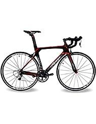 BEIOU® 2016 700C carretera Shimano 105 bicicletas con un cuadro 11S 5800 Bicicleta de carreras T800-M40 fibra de carbono Aero 18.3lbs ultraligeros CB013A-2 (Mate Negro y Rojo, 540mm)