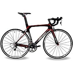 BEIOU® 2016 700C carretera Shimano 105 bicicletas con un cuadro 11S 5800 Bicicleta de carreras T800-M40 fibra de carbono Aero 18.3lbs ultraligeros CB013A-2 (Mate Negro y Rojo, 560mm)