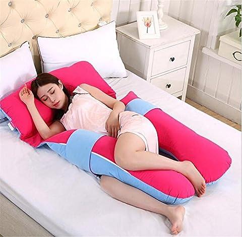 DU&HL Confortable Full Body / maternité grossesse Oreiller, soulagement de la douleur Oreiller, coussin d'allaitement Avec 100% coton couverture, dos et ventre soutien Grand cadeau pour maman et bébé! (Rouge)