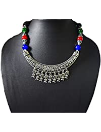 AyA Fashion Designer Traditional Oxidised Silver Necklace With Blue, Red And Green Beads And Thread Work | Elegant...