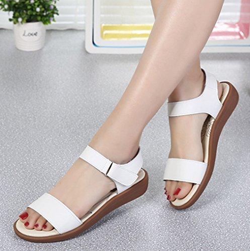 Damen Sandalen Schnalle Römische Stil Slingback Flache Atmungsaktiv Komfort Sommer Freizeit Schuhe Weiß