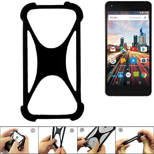K-S-Trade Handyhülle für Archos 50f Helium Lite Schutz Hülle Silikon Bumper Cover Case Silikoncase TPU Softcase Schutzhülle Smartphone Stoßschutz, schwarz (1x)