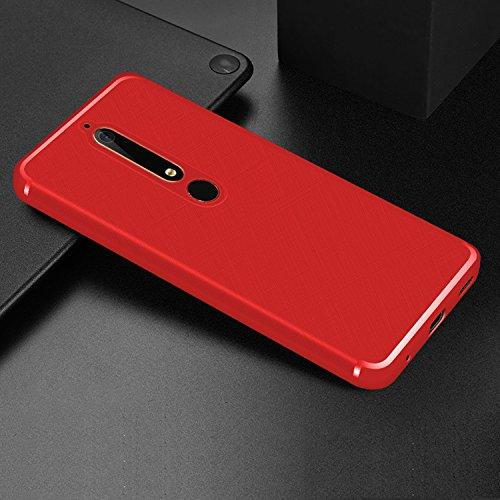 Mylboo Nokia 6 2018/Nokia 6.1 Hülle, Kreuz Textur Slim Weiches Stoßsicheres Gehäuse mit Flexiblem TPU Silikon Hybrid Schutzhülle Slim-Fit Case für Nokia 6.1 Dual SIM Smartphone Version 2018 (Rot)
