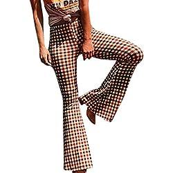 LEvifun Mujeres Cómodos Elásticos Campanas de Sexy Cintura a Cuadros Elásticos Cintura Pantalones Acampanados Estampados Elegantes Pantalones Casuales Ropa de Fiesta Festivo