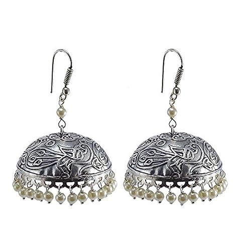 Silvestoo India Emerald Pearl Jhumka-Indian Jewellery-Traditional Earrings PG-105099