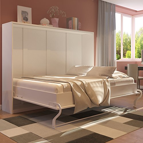 Smartbett Schrankbett Foldaway Bed 140 x200 Horizontal Querbett Gästebett Weiß mit Hochglanzfront - 2