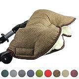 BAMBINIWELT universaler Muff/Handwärmer für Kinderwagen, Buggy, Jogger mit Wolle, melierter Stoff (Braun)
