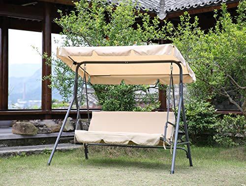 Angel Living Columpio de Jardín de Metal con Parasol Balancín de 3 Asientos con Cojín y Techo Ajustable para Terrza Balcón Exterior Acero Máx. 240kg - 169x110x151cm (Beige)