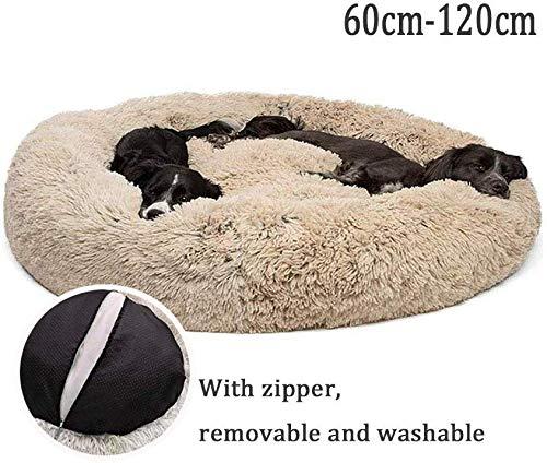 Lrhps Deluxe-Haustierbett,Kuschelkissen für Hunde und Katzen, weich, waschbar,für Katzen und kleine bis mittelgroße Hunde,Braun,80 * 80cm