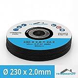 10pieza Discos de corte Diámetro 230mm x 2.0mm para amoladora angular Acero Inoxidable Acero Flex Disco inox metal
