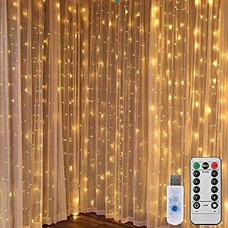 LEDGLE-Lichterkettenvorhang-LED-Lichtervorhang-300-LED-3×3-Meter-Lichterkette-USB-8-Modi-mit-Fernbedien-fr-Innen-Auen-Garten-Party-Hochzeit-Warmwei