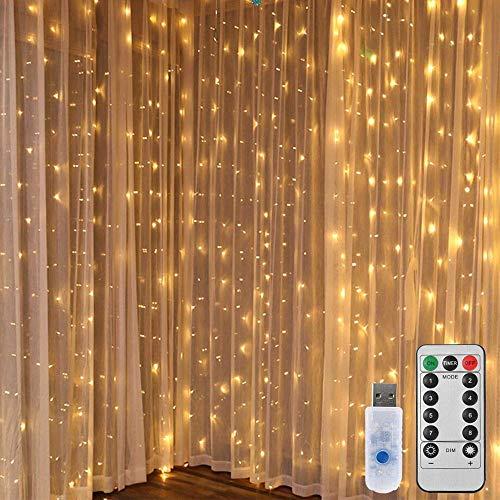 LEDGLE Lichterkettenvorhang LED Lichtervorhang 300 LED 3x3 Meter Lichterkette USB 8 Modi mit Fernbedien für Innen Außen Garten Party Hochzeit, Warmweiß