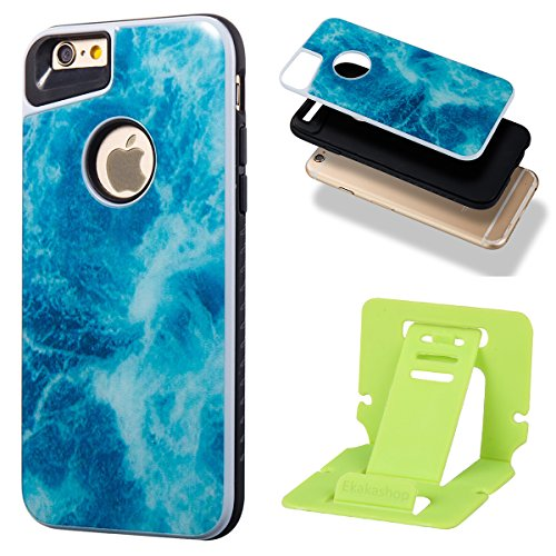 iphone 6S 4.7 Custodia, iphone 6 Silicone Cover, Ekakashop Moda Lusso Marmo Modello Disegno PC & TPU 2-in-1 Epoxy Mestieri Morbido Rigida Cassa del telefono per iphone 6S 3D Gel Silicone Gomma Cover, 2-in-1--Blu