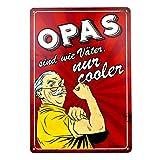 Stilingo Retro-Blechschild Opa Vintage Magnet-Metallschild Werbeschild 20x30 cm Türschild Opa Sprüche Deko Wandschild Geschenk Opa Motiv