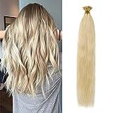 Extension Pose à Froid Cheveux Humains Stick Hair 100% Remy Hair Bien Garnit [ 40CM ] [0.5g*100 Mèches][ Blond Blanchi ]