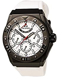 TW Steel CEO Diver Unisex Automatic Watch with White Dial Chronograph Display and White Silicone Strap CE5002