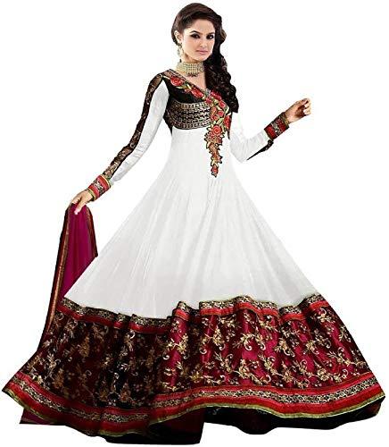 Clickedia Women\'s Faux Georgette Semi Stitched Anarkali Suit (White_ Free Size)
