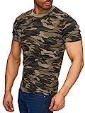 Herren T-Shirt Camouflage Slim Military Army, Farben:Grün, Größe T-Shirt:M