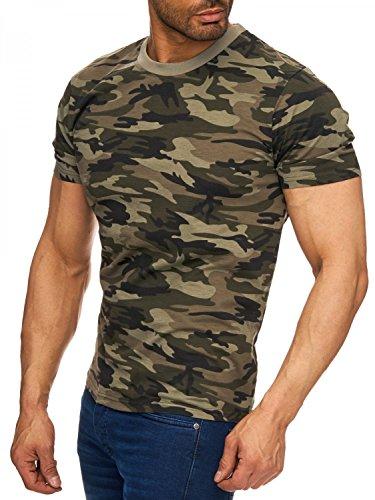 Herren T-Shirt Camouflage Slim Military Army, Farben:Grün, Größe T-Shirt:XXL
