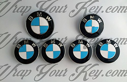 Bianco & blu scuro BMW M Sport distintivo emblema Overlay Hood tronco cerchioni Fits all BMW x gratuito