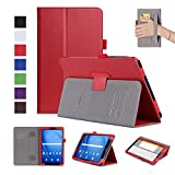 ISIN Tablet Case Series Premium PU Leather Case Stand Cover for Samsung Galaxy Tab A 10.1 inch SM-T580N T585N Android 6.0 Marshmallow Tablet with Velcro Hand Strap and Card Slots (Red)