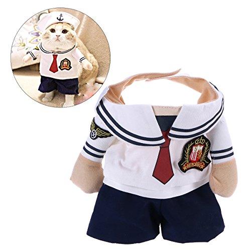 POPETPOP Haustier Hund Weihnachtskostüm Navy Suit mit Matrosen Hut für Kleine Hunde Urlaub - Größe L
