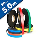 Bande magnétique de couleur, flexible et avec fortement magnétisé - 0,85mm x 20mm x 5m - pour étiqueter et marquer, Couleur:blanc
