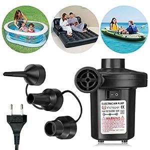 Pompa elettrica per materasso gonfiabile- Wesho Elettriche Pompa Elettrico con 220-240V con 3 ugelli per Materasso Gonfiabile/ Campeggio/ Barca/ Anello di Nuotata