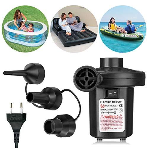 Wesho Pump, Pompa Elettrico con 220-240V con 3 ugelli per Materasso Gonfiabile/Campeggio/Barca/Anello di Nuotata Unisex-Adult, Black, 101212CM