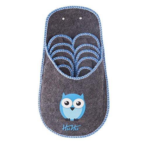 sinnlein® Zapatillas para Invitados Pantuflas de Fieltro Unisex Mujer Hombre Niños Niño Niña, Números 34, 37, 40, 42, 44 (Cada uno 1 x en el Juego), calentitas, Tres Colores Modernos (Azul Claro)