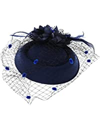 ZOOMY Fascinators Hair Clip Fascia per Capelli Cappello Bowler Feather Velo  Regalo per Matrimoni - Blu f7a80359e9d0