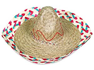 Lot de 50 Chapeaux Sombrero Mexicain (SH-40), chapeau de paille en raphia tressé