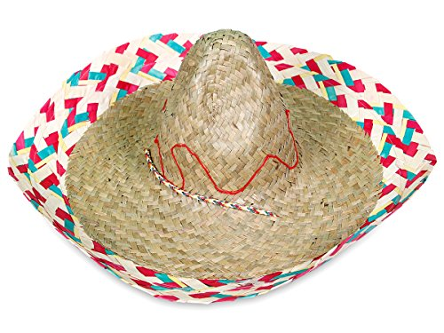 PARTY DISCOUNT ® Sombrero Mexico-Hut Party-Hut Fasching Karneval Stroh-Hut One Size