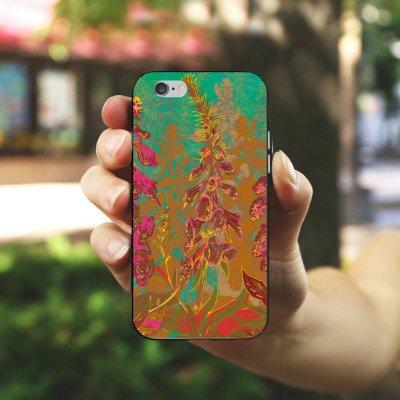 Apple iPhone 5 Housse Outdoor Étui militaire Coque Fleurs Fleurs Motif Housse en silicone noir / blanc