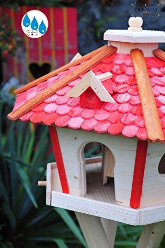 Futterhaus,Vogelhäuser wetterfest, mit Ständer / mit Standfuß und Silo,Futtersilo für Winterfütterung, XXL Vogelvilla Vöglehus groß aus Holz rot mit Ständer SR45roMS Holzschindel - 3