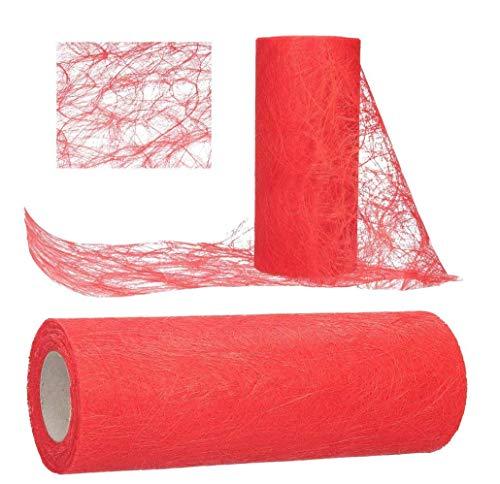 AmaCasa Tischläufer Sizoweb 30cm/25m Tischband Hochzeit Kommunion (Rot)