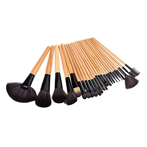 LyDia� UK STOCK Professional 24pcs Natural Wooden handle Black/brown Make Up Brush Set with Case