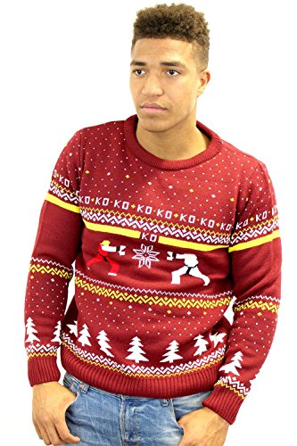 Street Fighter Official Ken Vs. Ryu Christmas Jumper / Sweater (L)