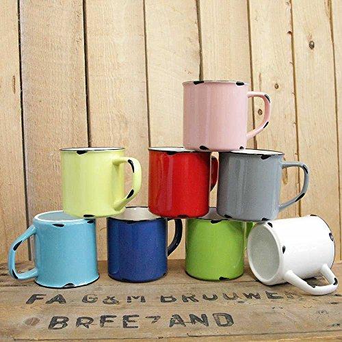Tony Brown | Kaffee - Teetasse | Kaffeebecher | Uni Farben | Emaille Optik | Porzellan Tasse | Used...