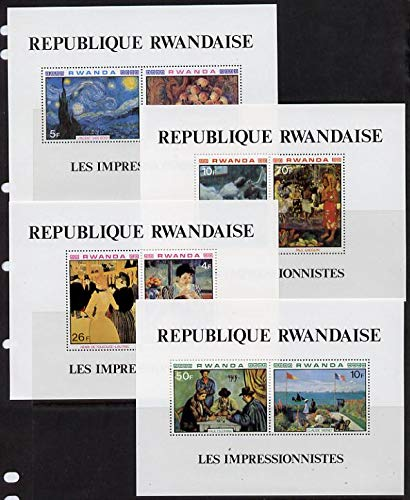 Rwanda 1980 Impressionist Paintings perf set ARTS TOBACCO RENOIR PLAYING CARDS GAUGUIN CEZANNE DEGAS DANCING VAN GOGH CASSATT TOULOUSE LAUTREC MONET JandRStamps -